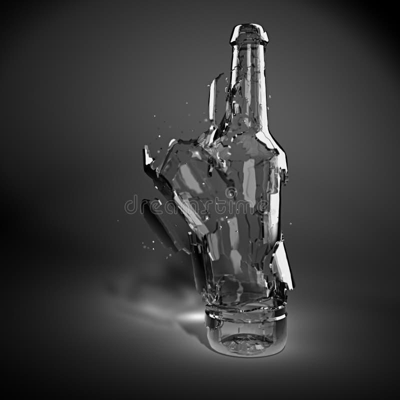 Gebroken glasfles stock illustratie