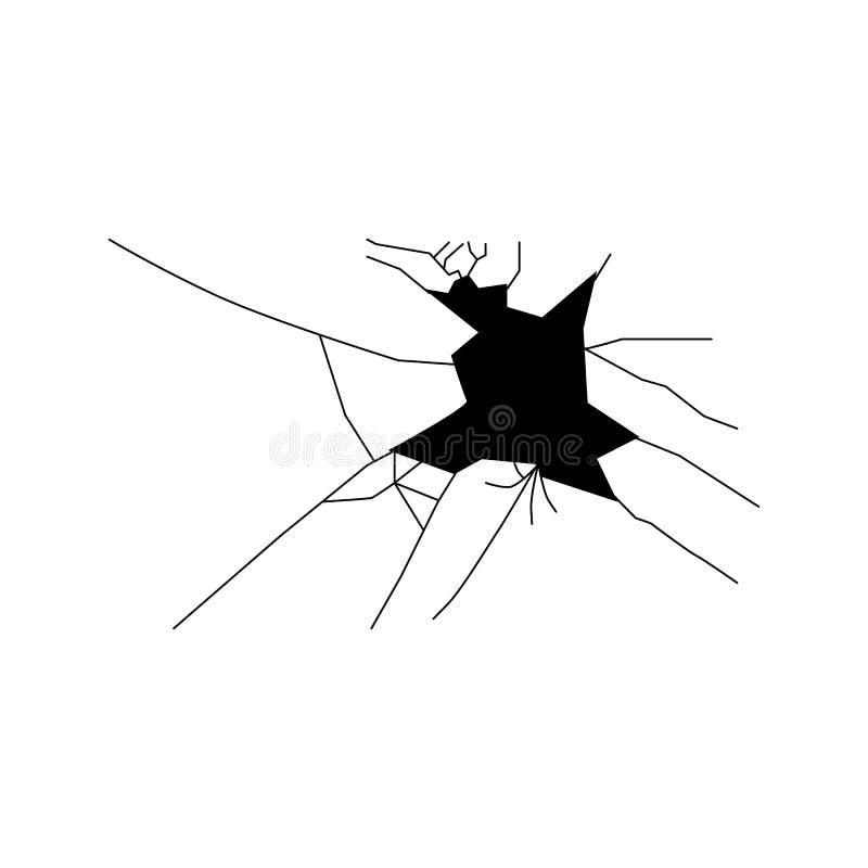 Gebroken glassilhouet royalty-vrije illustratie