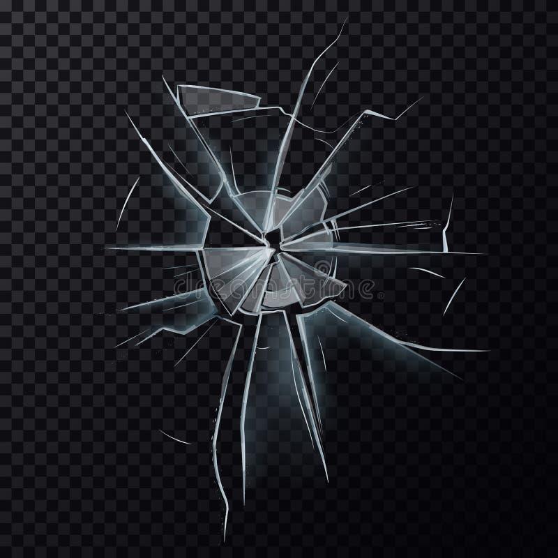 Gebroken glaswerkvenster of het beschadigde scherm vector illustratie
