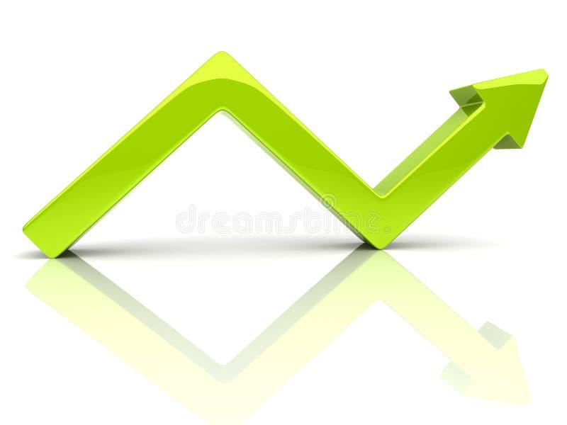Gebroken groene pijl stock illustratie