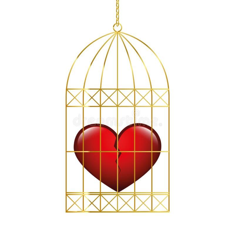 Gebroken hart in een gouden kooi royalty-vrije illustratie