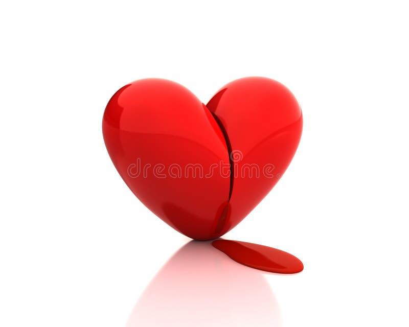 Gebroken hart met bloed stock illustratie