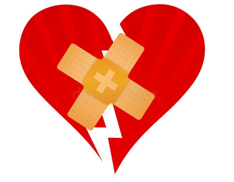 Gebroken hart met een bandhulp stock illustratie
