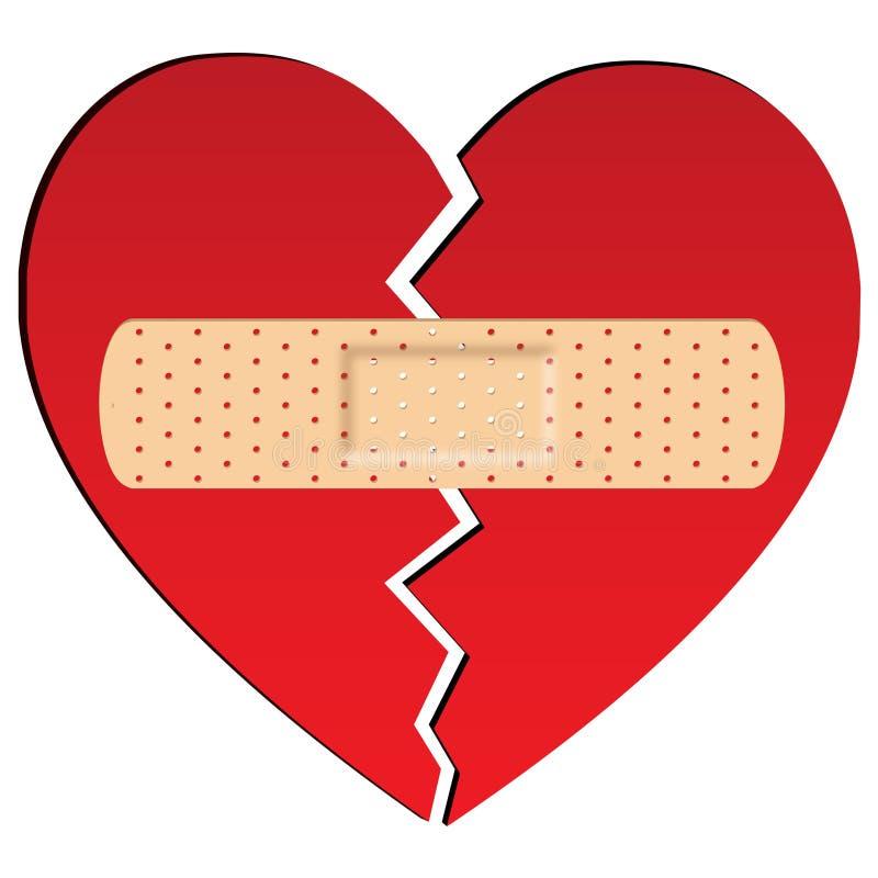 Gebroken hart met pleister vector illustratie