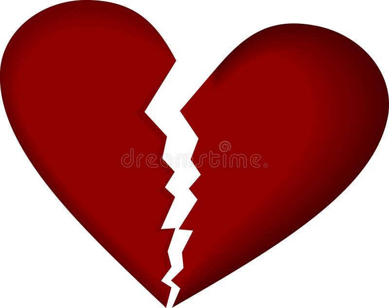 Gebroken hart op wit stock illustratie