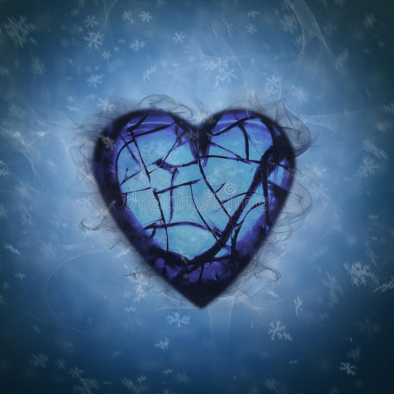 Gebroken hart in sneeuwontploffing royalty-vrije illustratie