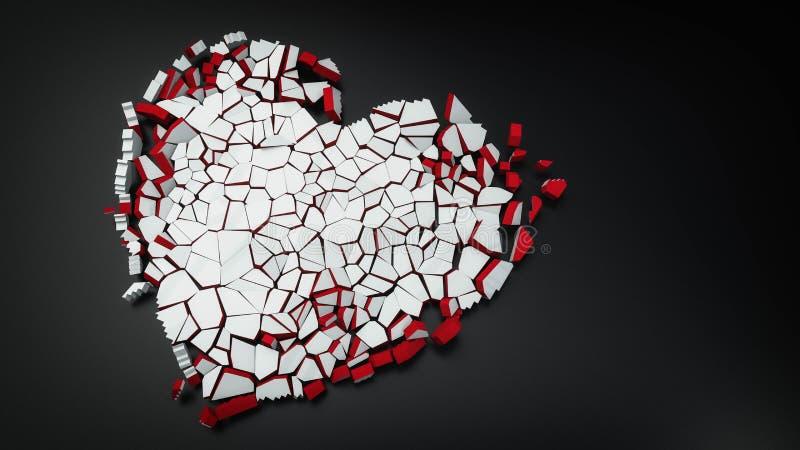 gebroken hart van de ijs 3d illustratie royalty-vrije illustratie