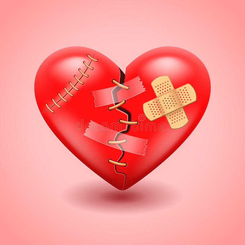 Gebroken hart vectorachtergrond stock illustratie