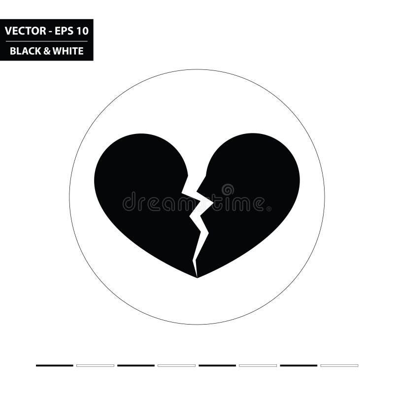 Gebroken hart zwart-wit vlak pictogram royalty-vrije illustratie