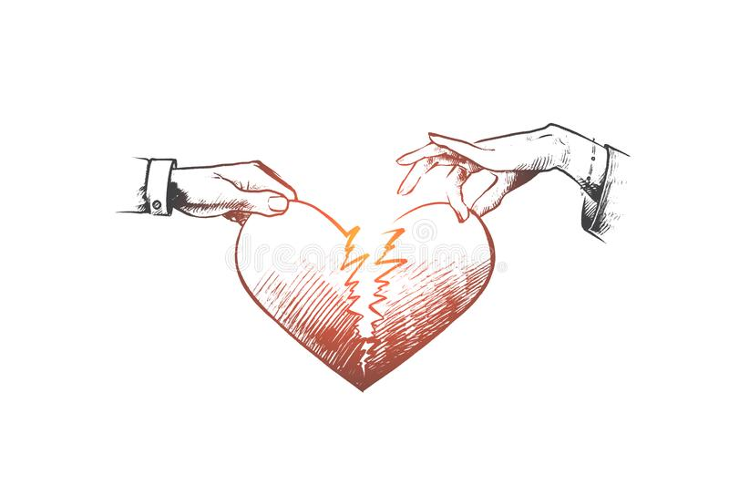Gebroken hartconcept Hand getrokken geïsoleerde vector stock illustratie