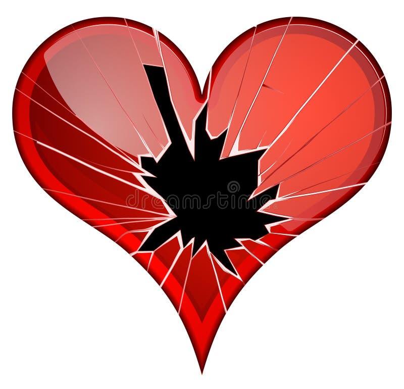 Gebroken harten De afkeer, verbrijzelde droefheid, breuk, verdeelt thema's stock illustratie