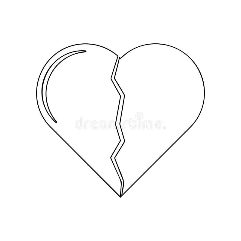 Gebroken hartpictogram Element van Liefde voor mobiel concept en webtoepassingenpictogram Overzicht, dun lijnpictogram voor websi vector illustratie