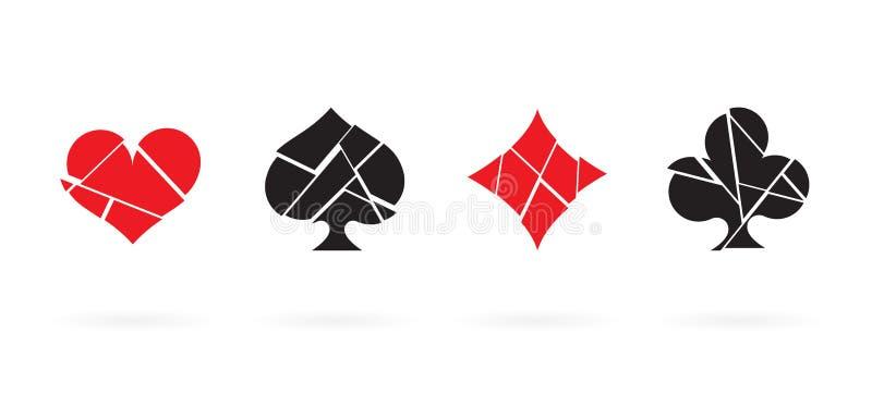 Gebroken het pictogramreeks van speelkaartkostuums Geïsoleerdee vector royalty-vrije illustratie