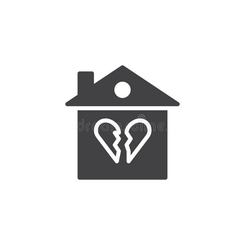 Gebroken het pictogramvector van het familiehuis royalty-vrije illustratie