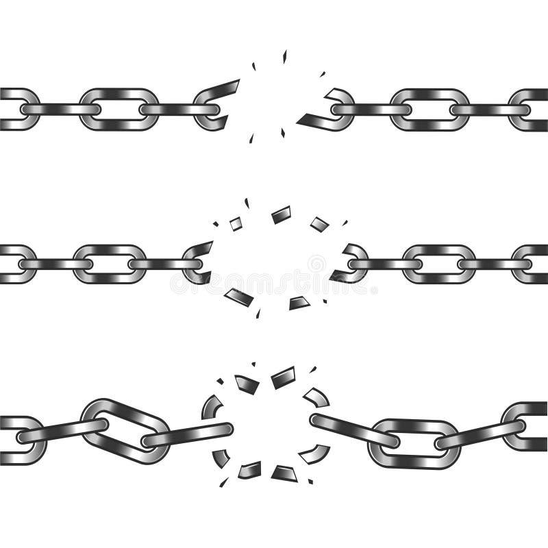 Gebroken ketting die op witte vector wordt geïsoleerd stock illustratie