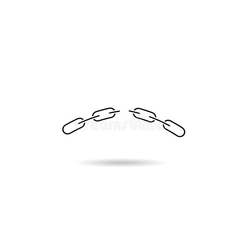 Gebroken kettingspictogram Concept mislukking Vector vlak symbool vector illustratie