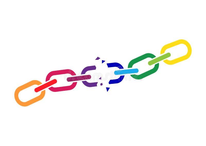 Gebroken kleurrijke ketting Vector illustratie vector illustratie