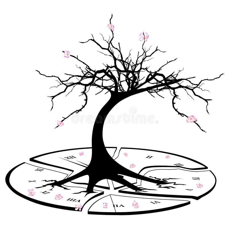 Gebroken klok en appelboom royalty-vrije illustratie