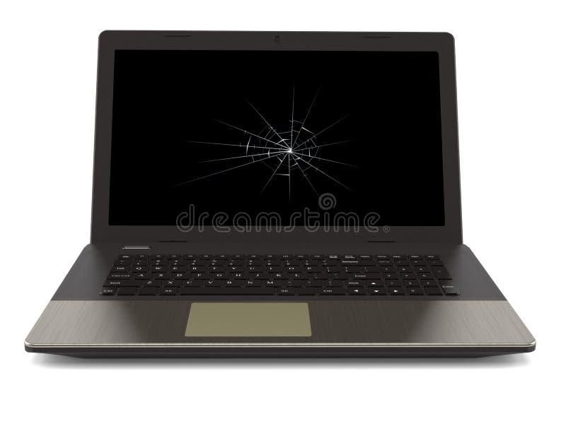 Gebroken laptop stock illustratie