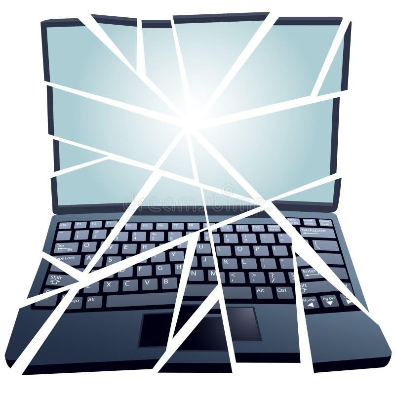 Gebroken Laptop van de moeilijke situatie Reparatie Computer in stukken stock illustratie