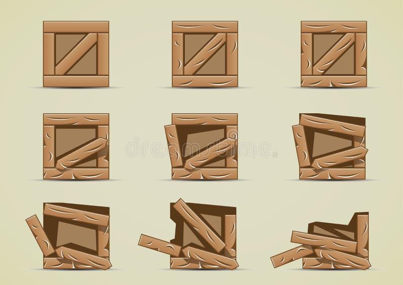 Gebroken lichte kratteninzamelingen vector illustratie