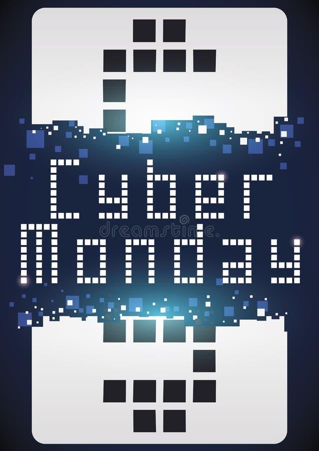 Gebroken Markering met Geldsymbool in Pixelkunst voor Cyber-Maandag, Vectorillustratie vector illustratie