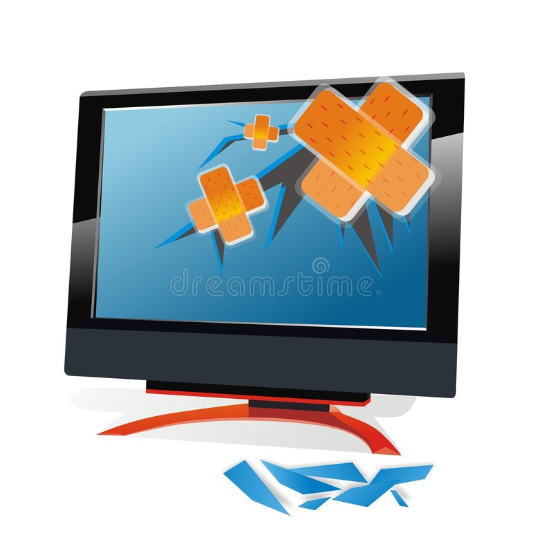 Gebroken monitor stock illustratie