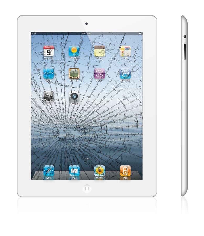 Gebroken nieuwe witte versie 3 van de Appel iPad royalty-vrije illustratie