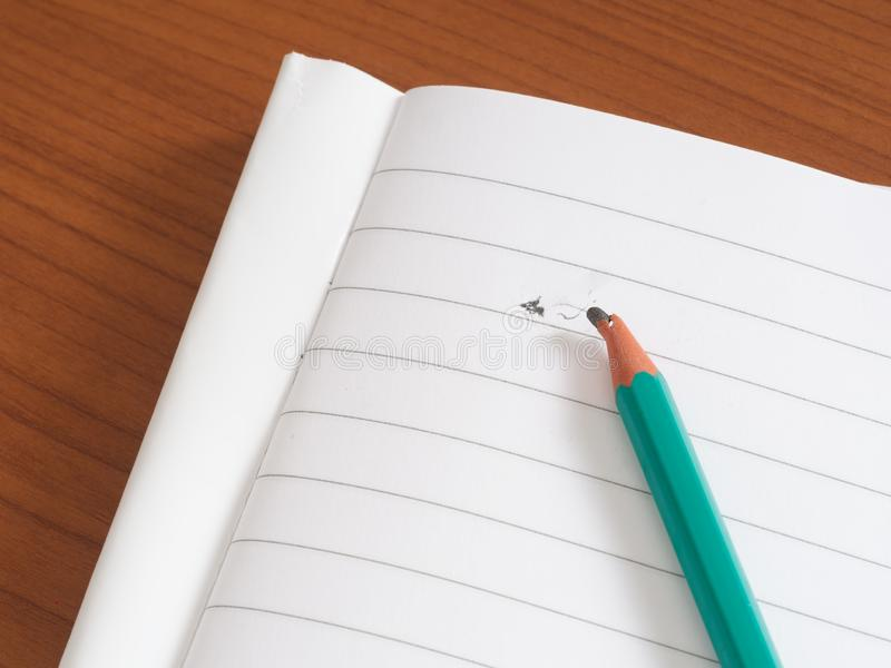 Gebroken potloodlood op spatie gevoerd document Spanning of schrijversblok stock foto