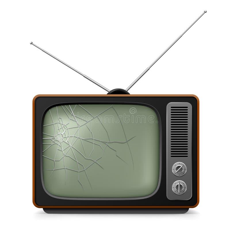 Gebroken Retro TV royalty-vrije illustratie