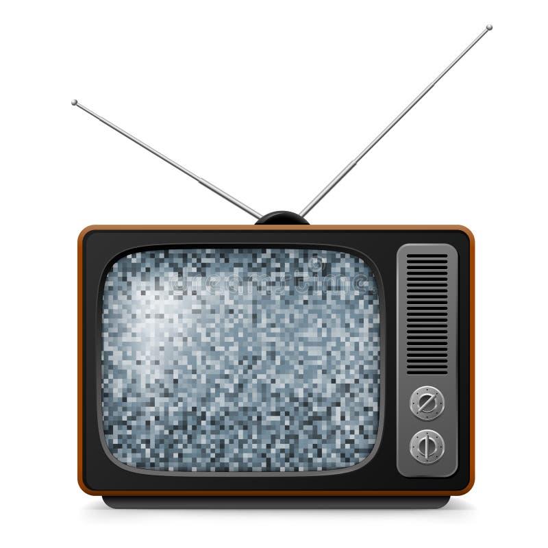 Gebroken retro TV stock illustratie