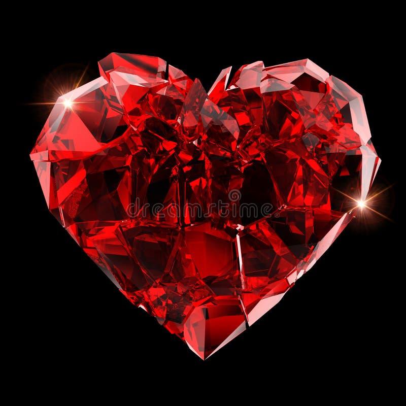 Gebroken rood hart royalty-vrije stock foto's