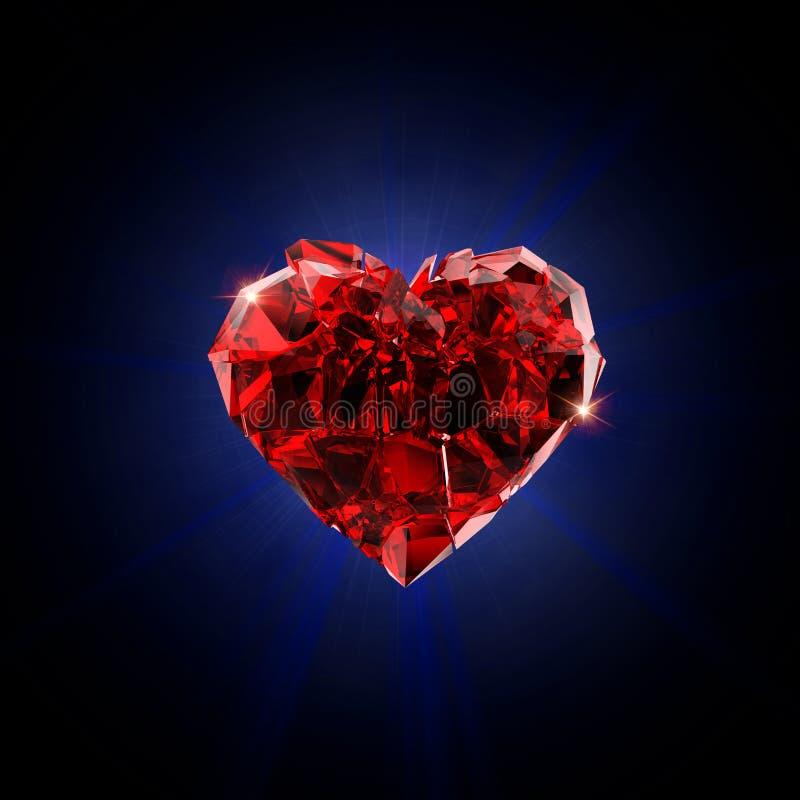 Gebroken rood hart royalty-vrije stock afbeelding
