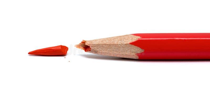 Gebroken rood potlood royalty-vrije stock foto