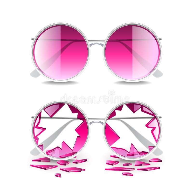 Gebroken roze die glazen op witte vector worden geïsoleerd stock illustratie