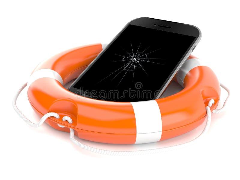 Gebroken slimme telefoon met reddingsboei stock illustratie