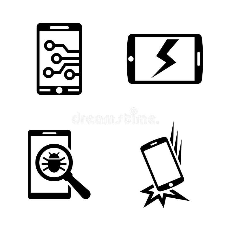 Gebroken smartphone Eenvoudige Verwante Vectorpictogrammen royalty-vrije illustratie