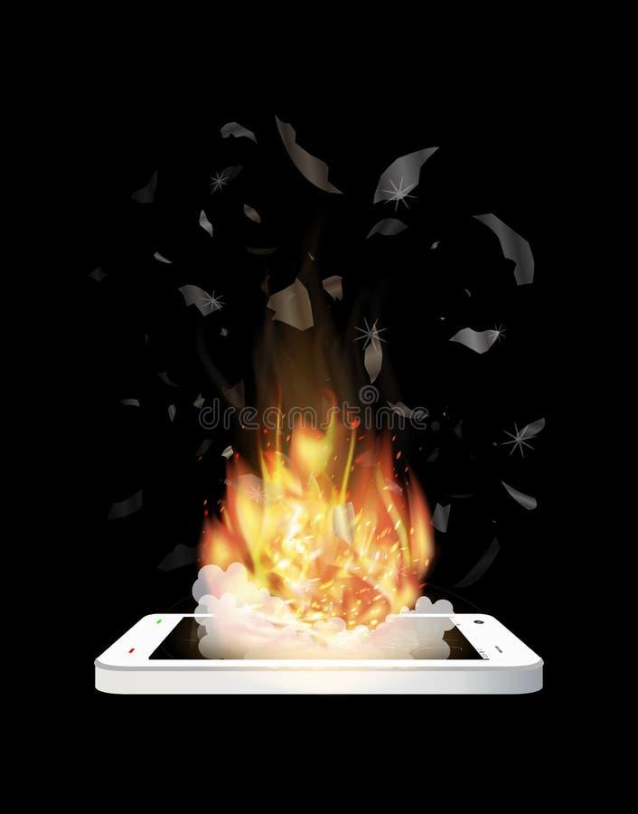 Gebroken smartphoneexplosie met het branden van brand royalty-vrije illustratie