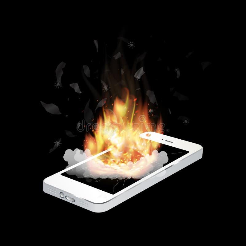 Gebroken smartphoneexplosie met het branden van brand stock illustratie