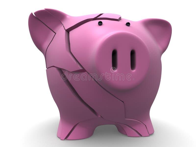 Gebroken spaarvarken royalty-vrije illustratie
