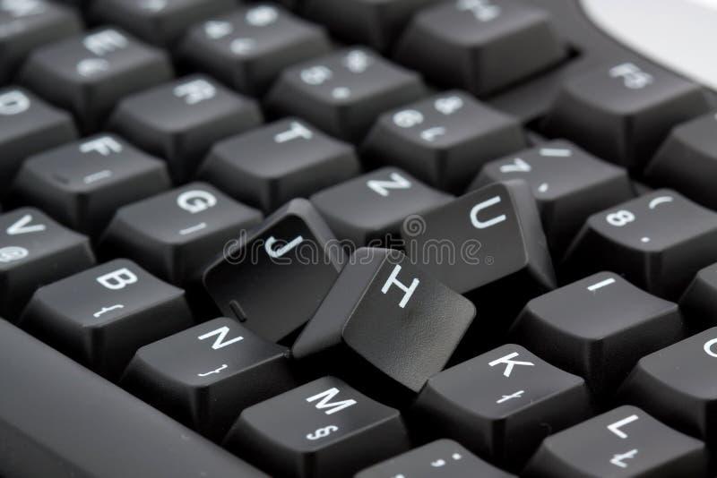 Gebroken toetsenbord stock afbeelding