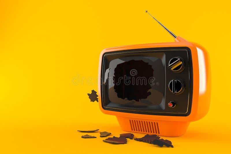 Gebroken TV stock illustratie