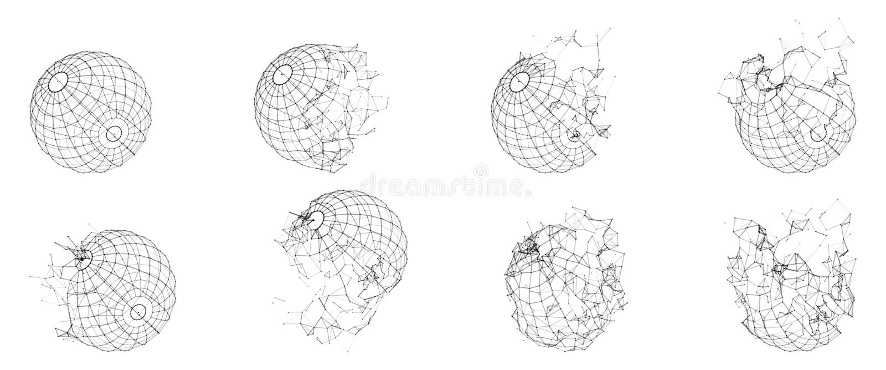 Gebroken Veelhoekig Wireframe-Gebied Gebroken Geometrische Vorm De Veelhoeken van het lijnennetwerk van Cirkel royalty-vrije illustratie
