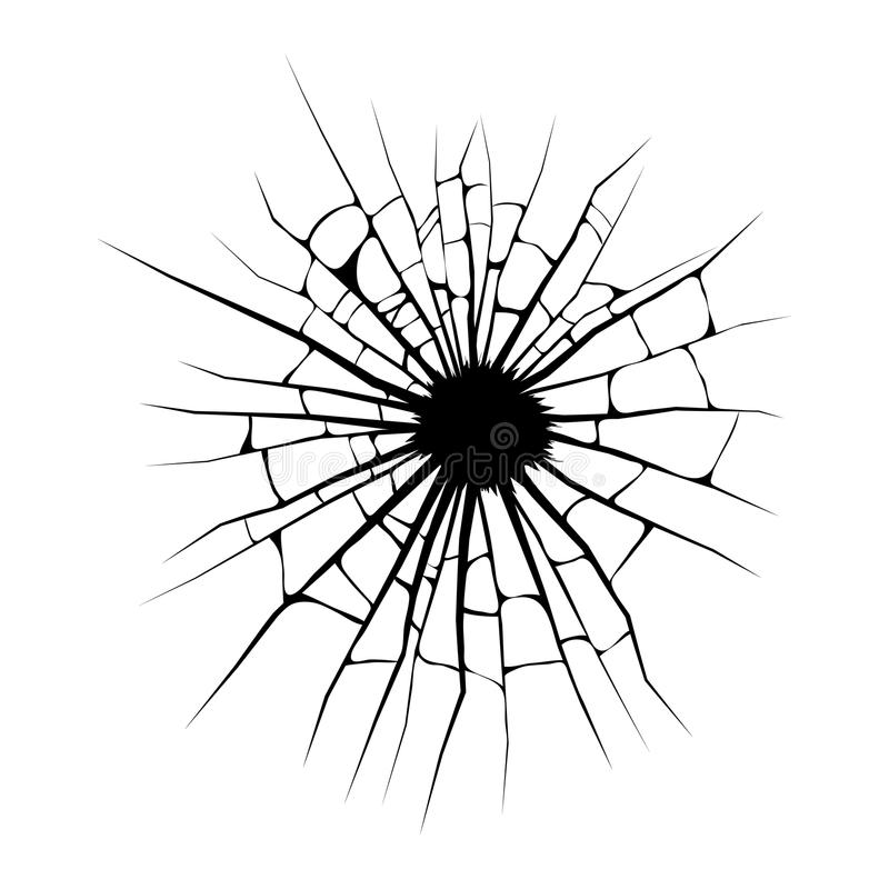 Gebroken venster, het vectordieontwerp van het barstengat op witte backg wordt geïsoleerd vector illustratie