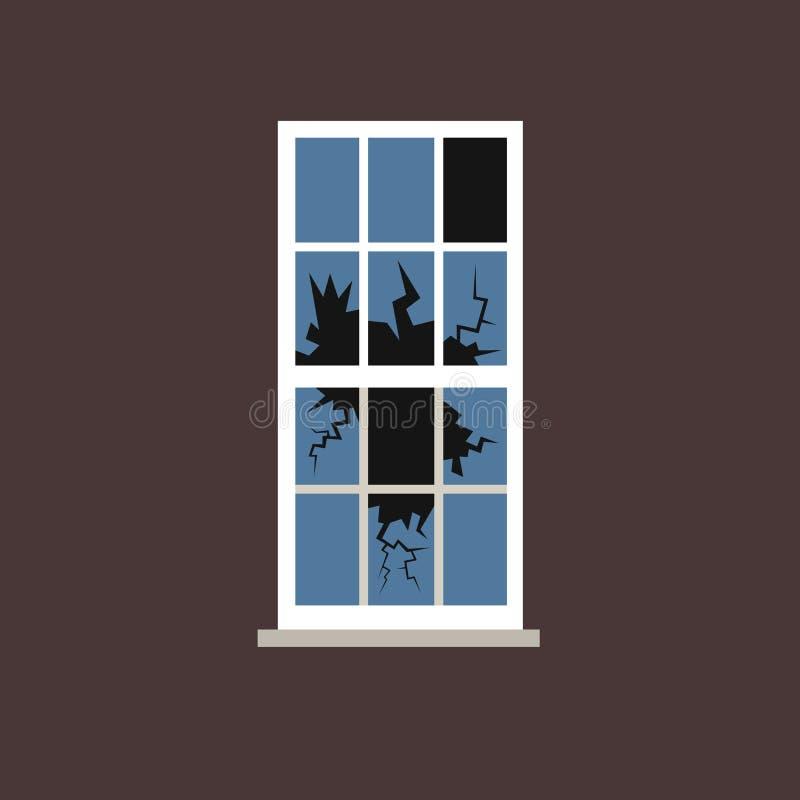 Gebroken venster met verbrijzeld glas stock illustratie