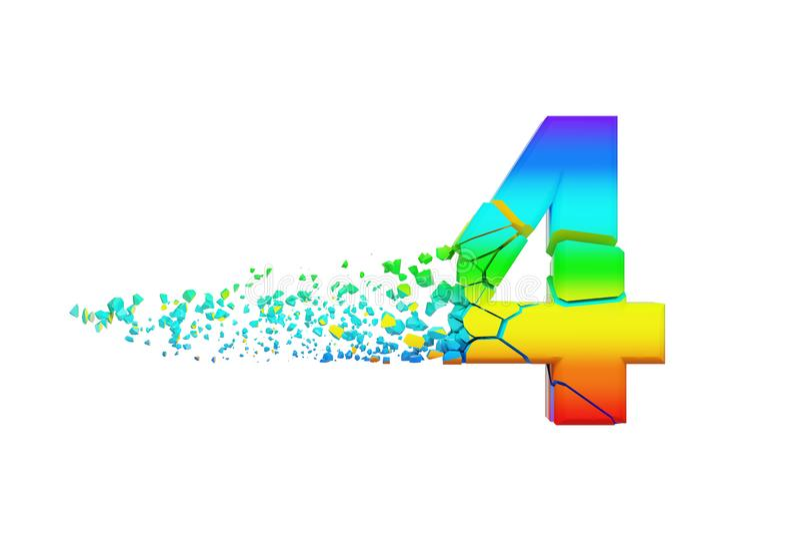 Gebroken verbrijzeld iriserend alfabet nummer 4 Verpletterde regenboogdoopvont 3d geef op witte achtergrond geïsoleerd? terug royalty-vrije illustratie