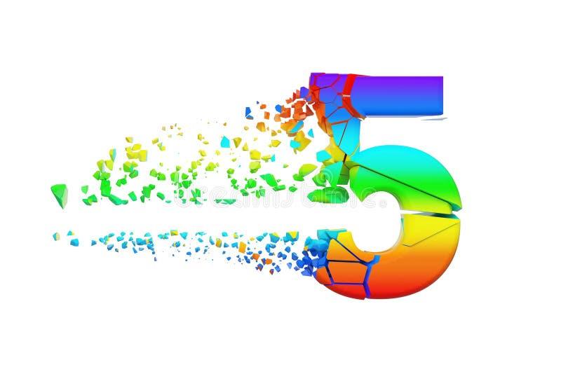 Gebroken verbrijzeld iriserend alfabet nummer 5 Verpletterde regenboogdoopvont 3d geef op witte achtergrond geïsoleerd? terug stock illustratie
