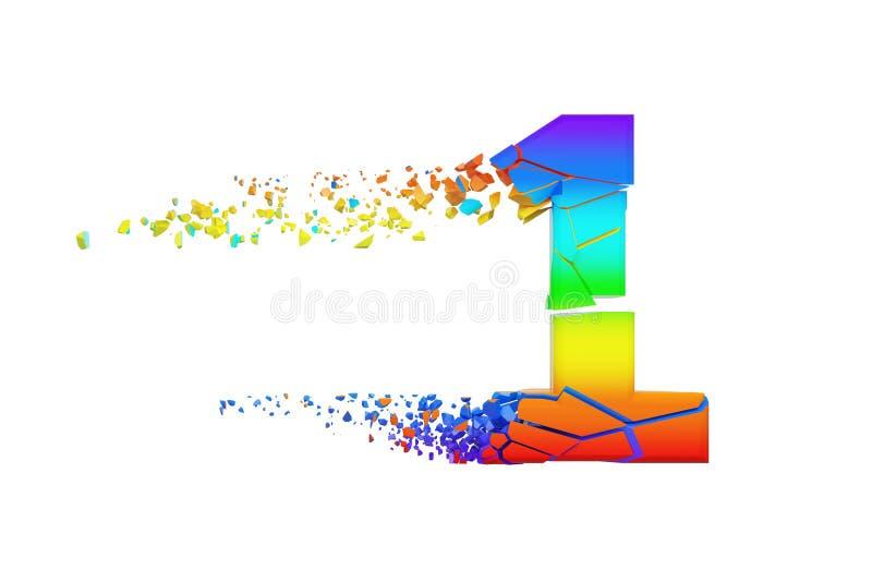 Gebroken verbrijzeld iriserend alfabet nummer 1 Verpletterde regenboogdoopvont 3d geef op witte achtergrond geïsoleerd? terug stock illustratie