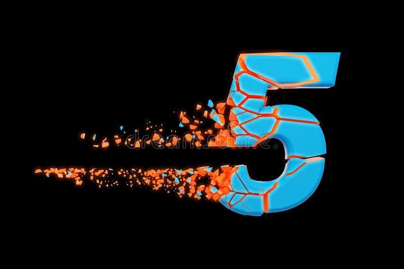 Gebroken verbrijzeld snel sportief alfabet nummer 5 Verpletterde snelle het rennen doopvont 3d geef op zwarte achtergrond geïsole stock illustratie