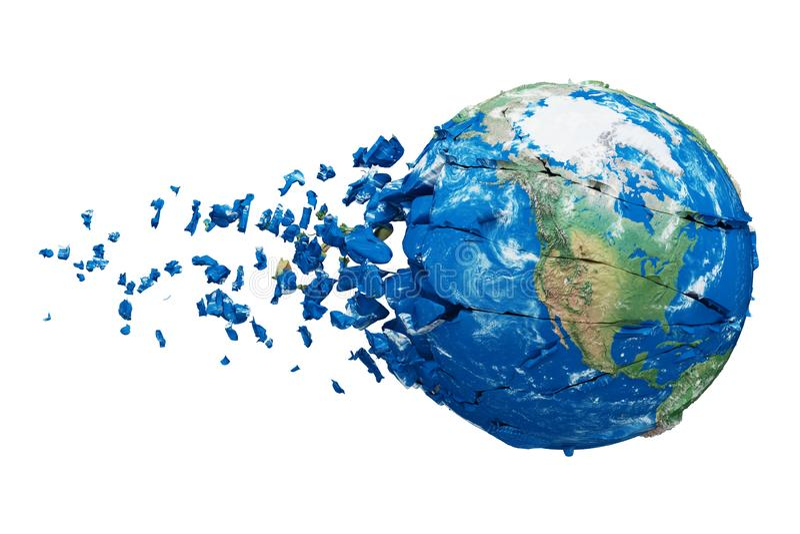 Gebroken verbrijzelde die aardebol op witte achtergrond wordt geïsoleerd Blauwe en groene realistische wereld met deeltjes en pui royalty-vrije illustratie
